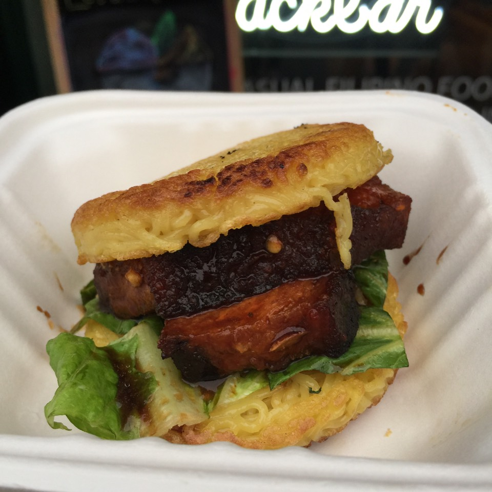 Pork Belly Ramen Burger at Lumpia Shack Snackbar on #foodmento http://foodmento.com/place/3305
