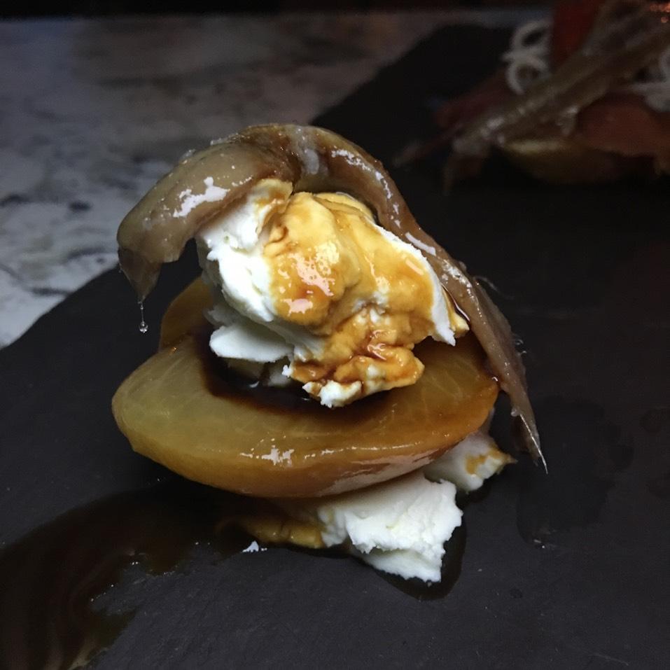 Damasco Con Queso (Apricot, Fresh Cheese, Anchoa, Arrope) Pintxo at Donostia on #foodmento http://foodmento.com/place/3390
