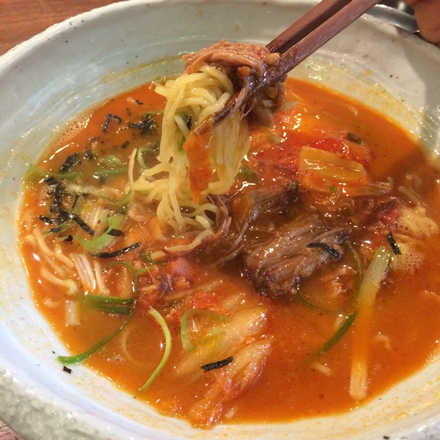 Kimchi Ramen (Kimchi Bacon Broth, Braised Pork) at Mōkbar on #foodmento http://foodmento.com/place/3541