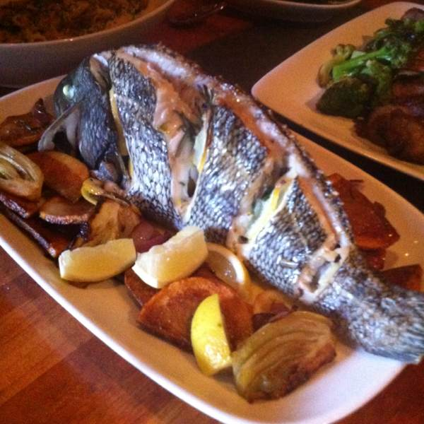Whole Roasted Fish of the Day (LI Black Bass) at Hearth on #foodmento http://foodmento.com/place/357