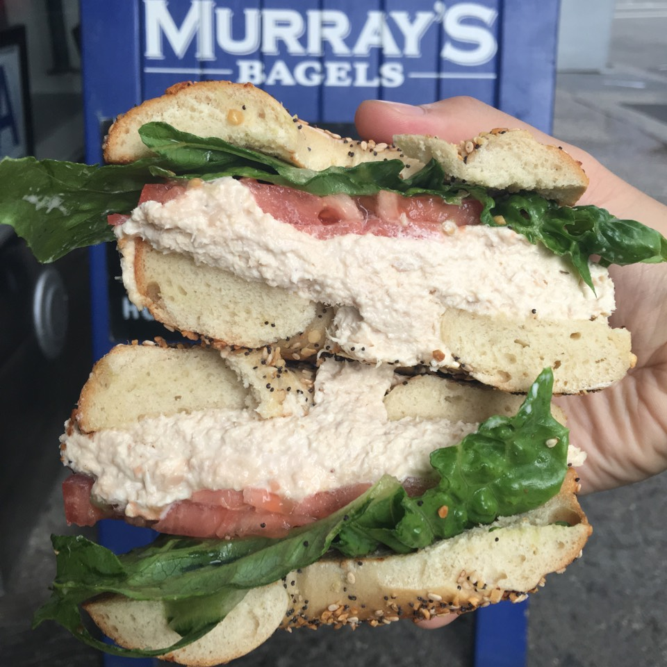 Tuna Basic (Bagel with Albacore tuna salad) at Murray's Bagels on #foodmento http://foodmento.com/place/3599
