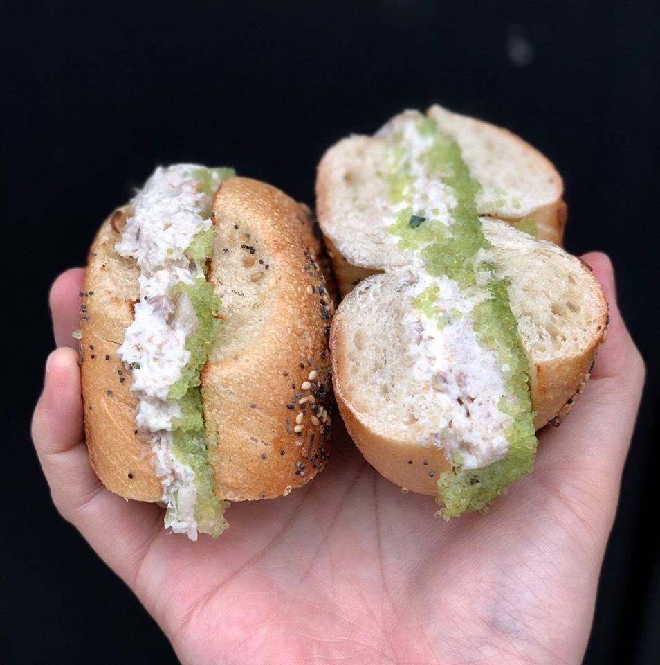 The Tribute Sandwich (Whitefish, Wasabi Tobiko, Horseradish Cream Cheese) at Shelsky's Smoked Fish on #foodmento http://foodmento.com/place/3693