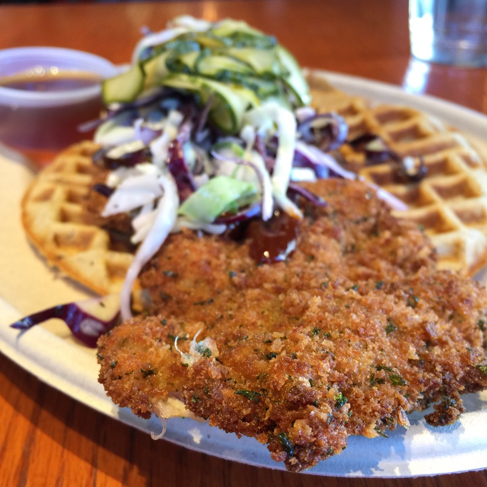 Chicken Schnitzel, Pecan Waffles (Off Menu) at Schnitz on #foodmento http://foodmento.com/place/3792