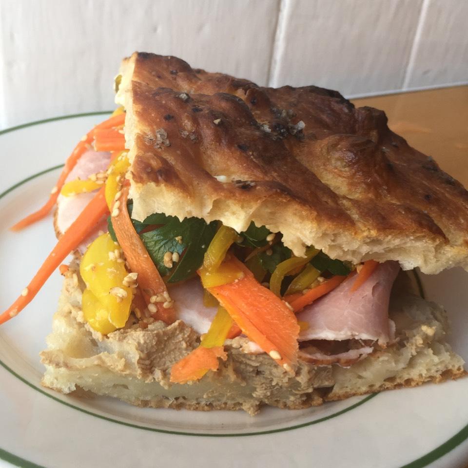 BALMY (chicken liver pâté, ham, jalapeños, pickled veggies...) at Saltie on #foodmento http://foodmento.com/place/3997