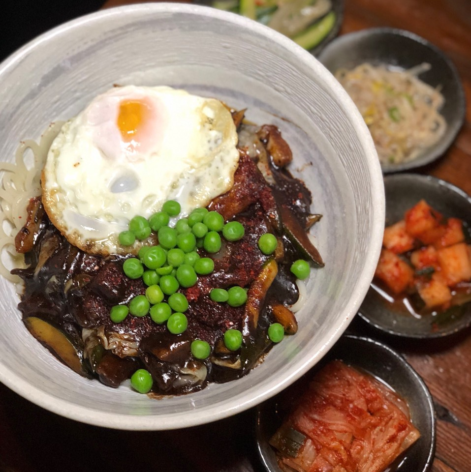 Fresh Noodles In Pork & Black Bean Sauce (Jjajangmyun) at Hanjan on #foodmento http://foodmento.com/place/4059