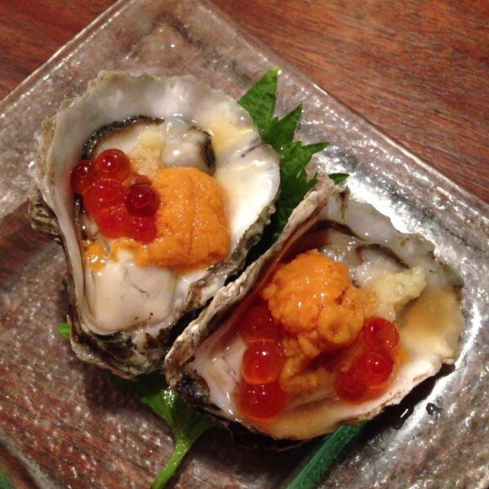 Kumamoto oyster, Santa Barbara Uni, Ikura at Yuba on #foodmento http://foodmento.com/place/4108