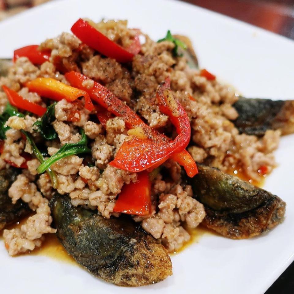 Fried Century Egg, Minced Pork, Basil at Chao Thai ร้านชาวไทย on #foodmento http://foodmento.com/place/424