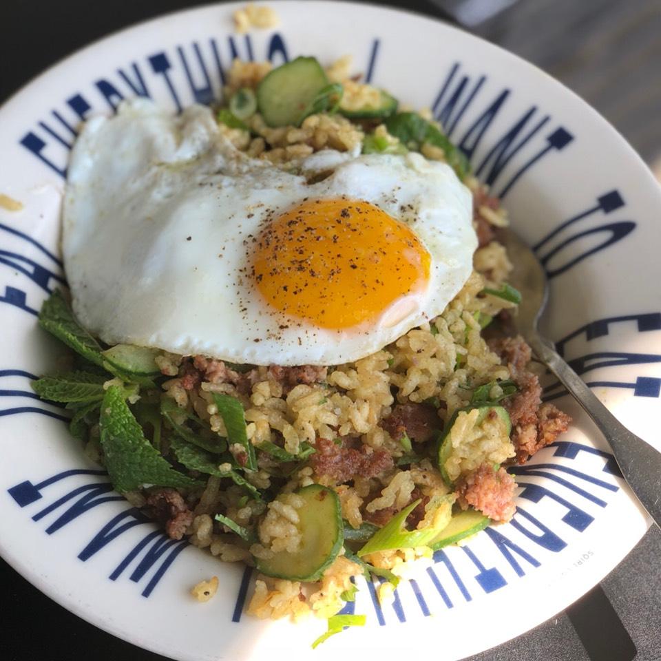 Crispy Rice Salad, Fried Egg, Sausage from Sqirl Kitchen on #foodmento http://foodmento.com/dish/32865
