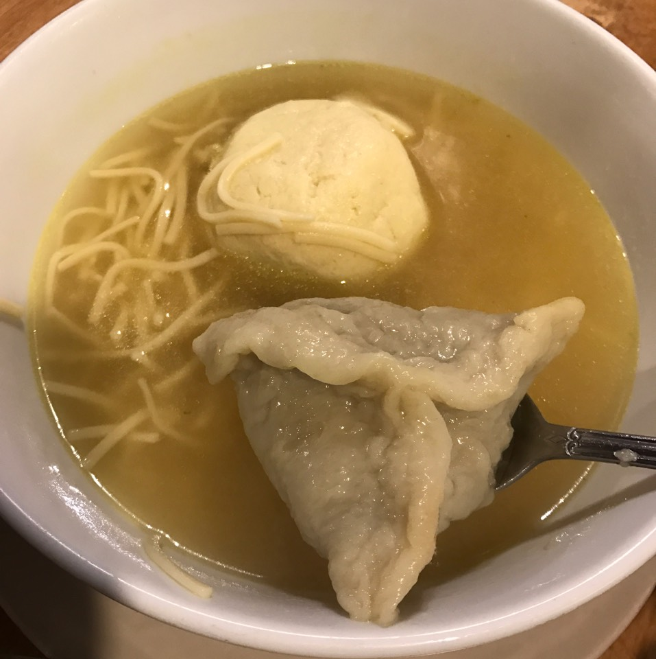 Bowl Of Old Fashioned Chicken Consomme, Matzo Ball, Kreplach, Noodles at Sarge's Delicatessen on #foodmento http://foodmento.com/place/4887