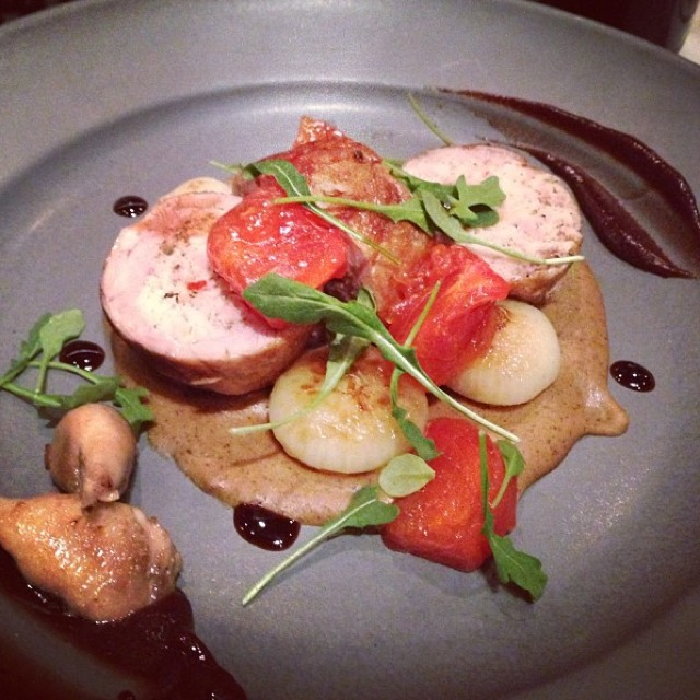 Sausage Stuffed Quail, Spiced Bread Sauce, Cipollini Onion, Persimmon at SPQR on #foodmento http://foodmento.com/place/525