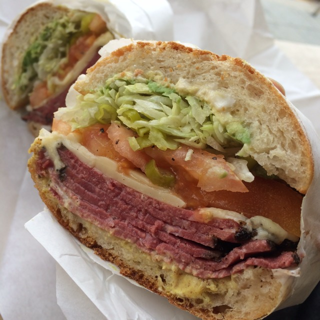 Barney Rubble Sandwich (Hot Pastrami, Melted Swiss, Avocado, Spicy Brown Mustard...) from Rhea's Market & Deli on #foodmento http://foodmento.com/dish/9478