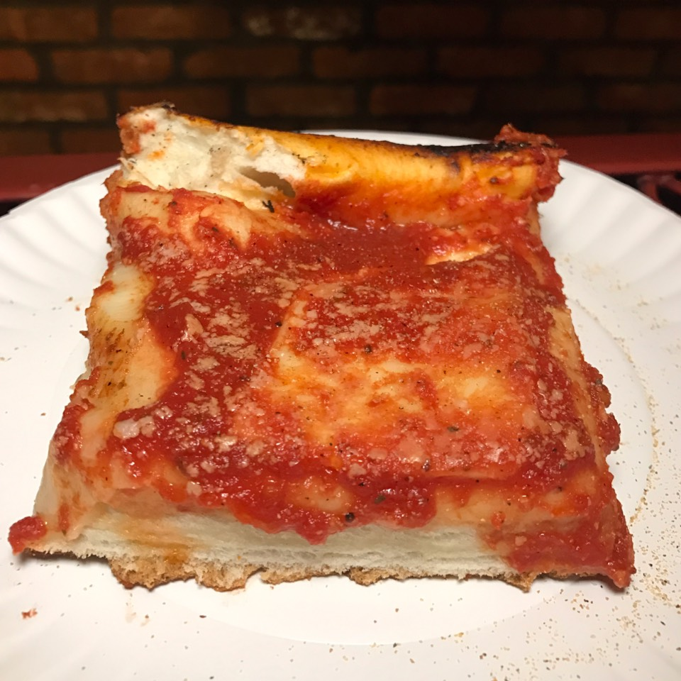 Square Sicilian Pizza Slice at L&B Spumoni Gardens on #foodmento http://foodmento.com/place/5869