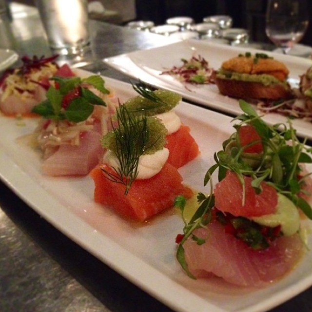 Crudo Sampler (Arctic Char, Scallop, Butterfish, Ono) at Bar Crudo on #foodmento http://foodmento.com/place/594