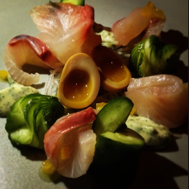 Kampachi, Quail Eggs... from Aziza on #foodmento http://foodmento.com/dish/2990