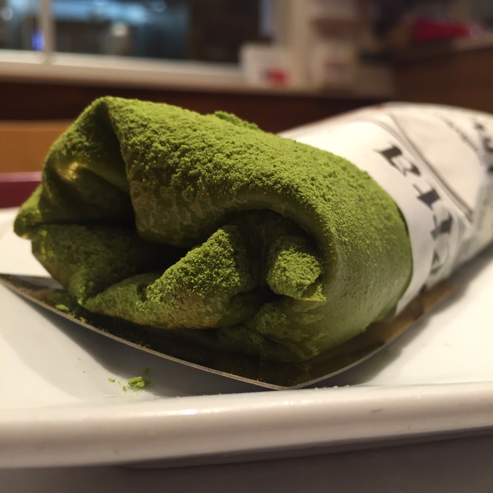Matcha Crepe with Red Bean filling at Takahachi Bakery on #foodmento http://foodmento.com/place/6022
