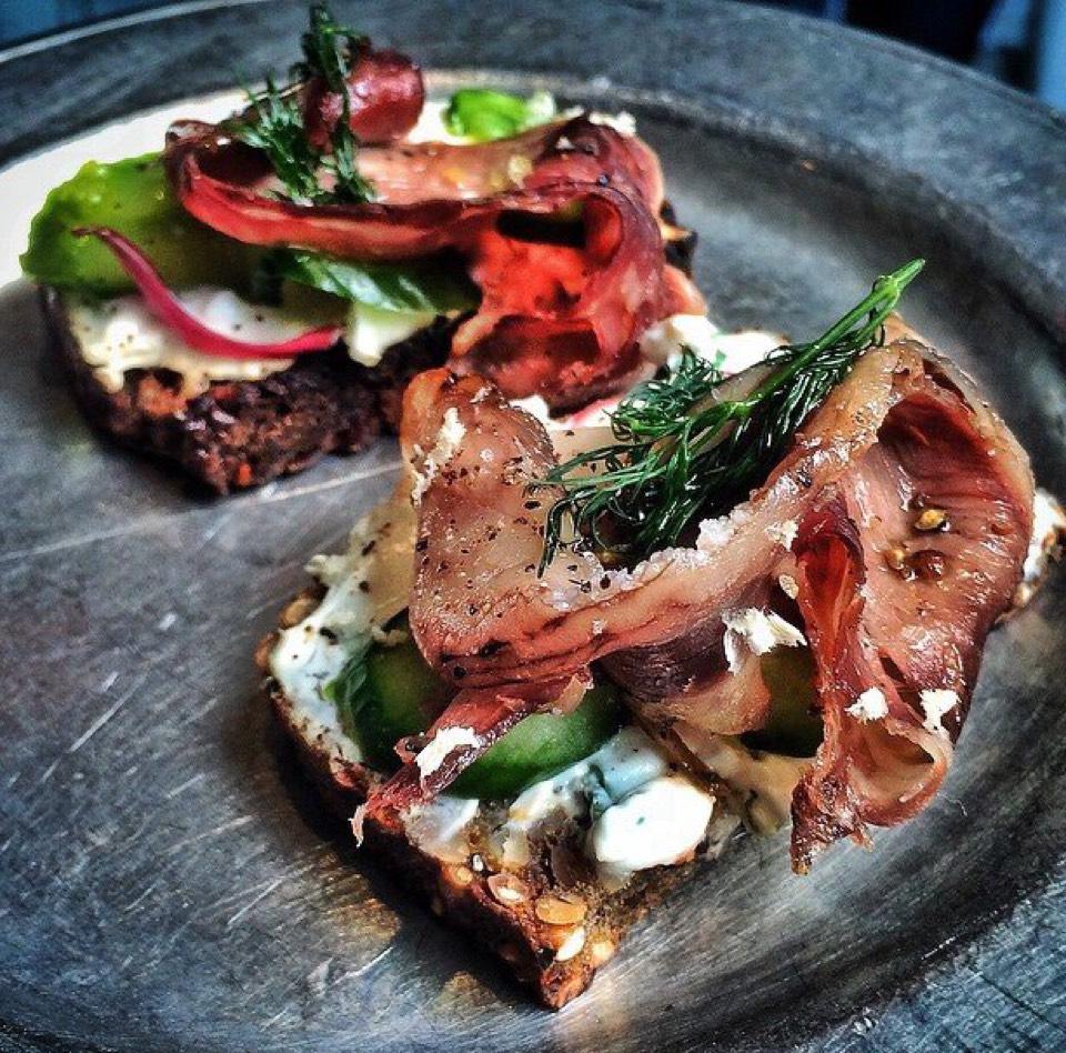 Bacon, feta & cucumber on multigrain toast at Gjusta on #foodmento http://foodmento.com/place/7159