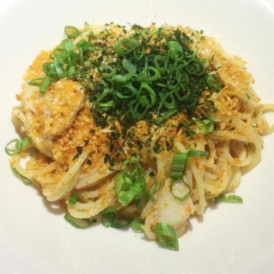 Mentaiko Spaghetti, Smoked Butterfish, Anonori, Chili on #foodmento http://foodmento.com/dish/31061