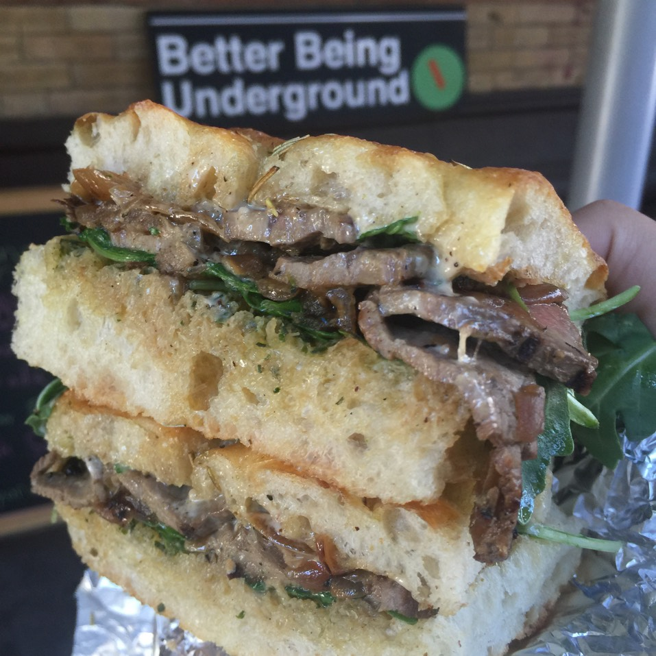 The 'Charro' Sandwich: Seared Chimmichurri Flank Steak, Carmelized Onions & Arugula on Rosemary Focaccia  at Better Being Underground on #foodmento http://foodmento.com/place/7842