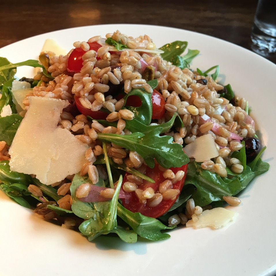 Organic Farro Salad w/ Tomatoes, Arugula, Pistachio, Olives... at B & B Winepub (Burger & Barrel) on #foodmento http://foodmento.com/place/821