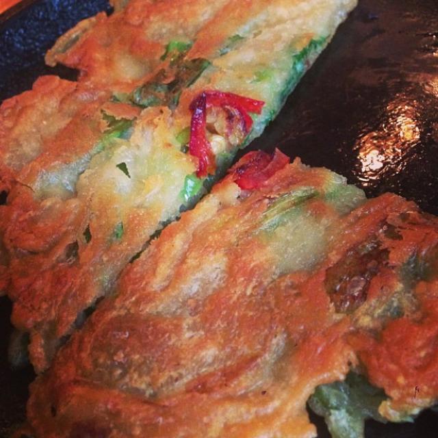 Pajeon (Kimchi & Pepper Pancake) at Danji on #foodmento http://foodmento.com/place/836