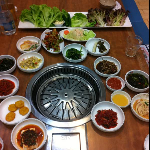 Banchan (free side dishes) at Ju Shin Jung Korean Charcoal BBQ on #foodmento http://foodmento.com/place/89
