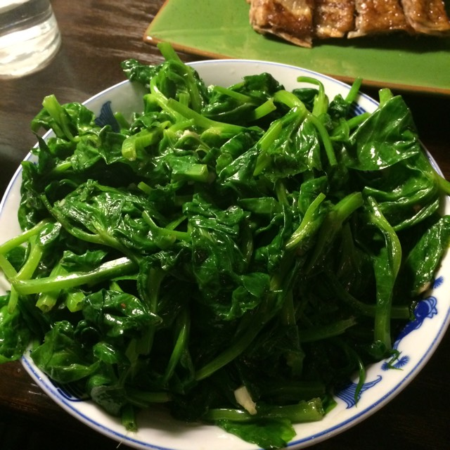 Snow Pea Shoots with Garlic at Café China on #foodmento http://foodmento.com/place/316