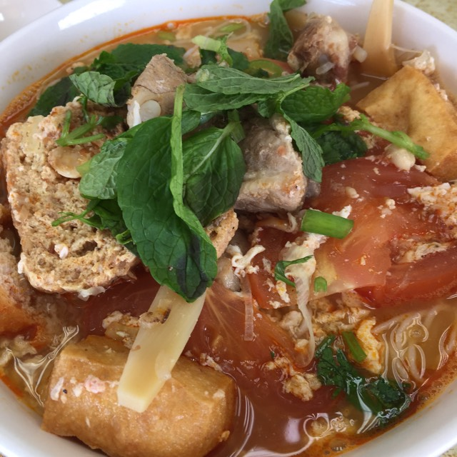 Bun Rieu Noodle Soup with crab paste broth at Thanh Da on #foodmento http://foodmento.com/place/6055