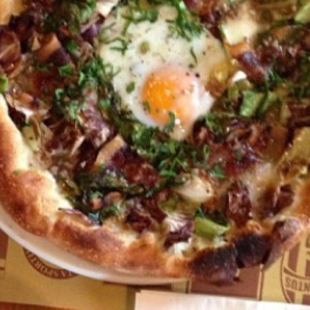 Egg, Guanciale, Escarole, Radicchio & Bagna Cuada Pizza at Pizzeria Mozza on #foodmento http://foodmento.com/place/705