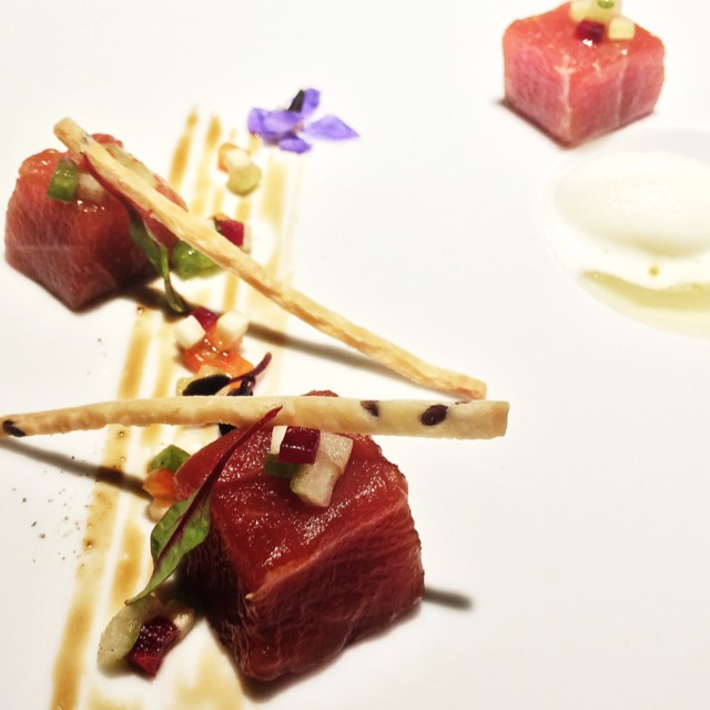 Balsamic raw tuna with apple and lemon sorbet  at Vasco Spanish Fine Dining on #foodmento http://foodmento.com/place/4789