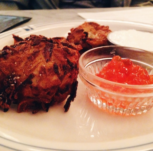Latkes With Salmon Roe And Creme Fraiche at Russ & Daughters Café on #foodmento http://foodmento.com/place/3060