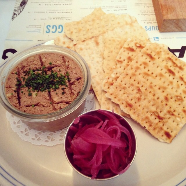 Chopped Liver, Matzo, Pickled Red Onions at Russ & Daughters Café on #foodmento http://foodmento.com/place/3060