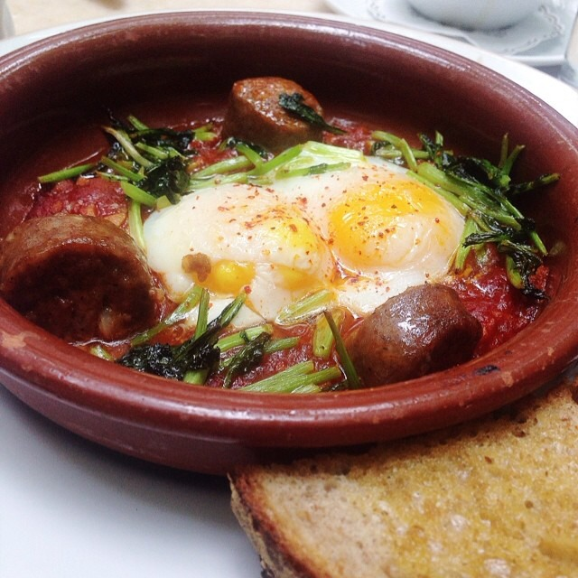 Baked Eggs with Andouille Sausage at Maison Premiere (CLOSED) on #foodmento http://foodmento.com/place/3100