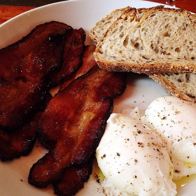 Poached Eggs, Smoked Bacon, Toast at Hearth on #foodmento http://foodmento.com/place/357