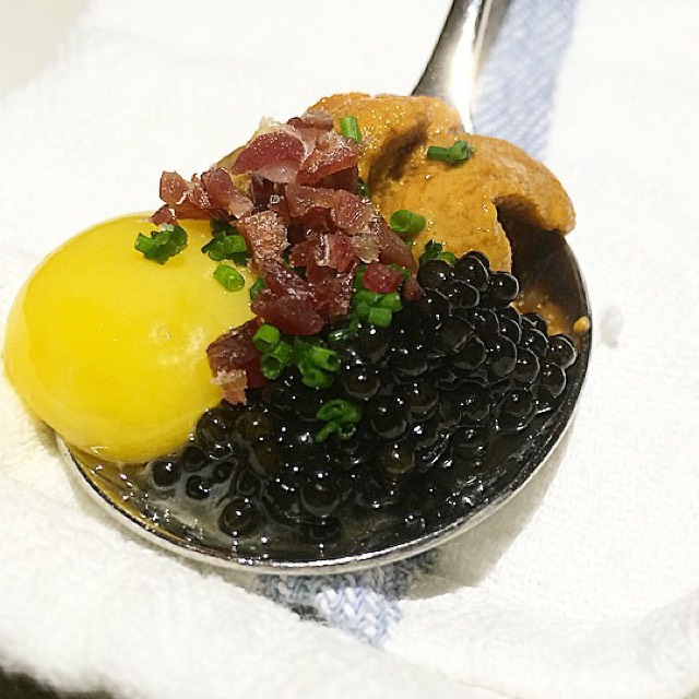Erizos con Caviar (Spoon Of Uni, Caviar, Quail Egg, Jamon Iberico) at Toro on #foodmento http://foodmento.com/place/3058