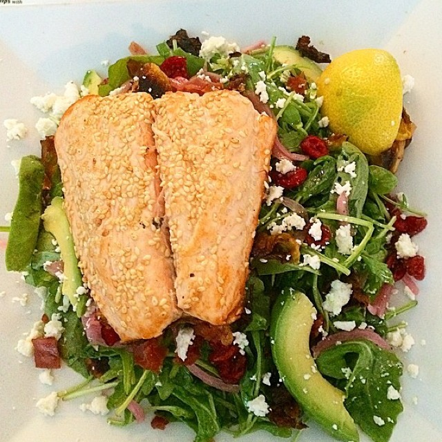 Sesame Crusted Salmon, Arugula Salad, Crispy Artichoke, Crispy Prosciutto... at Westville East on #foodmento http://foodmento.com/place/3330