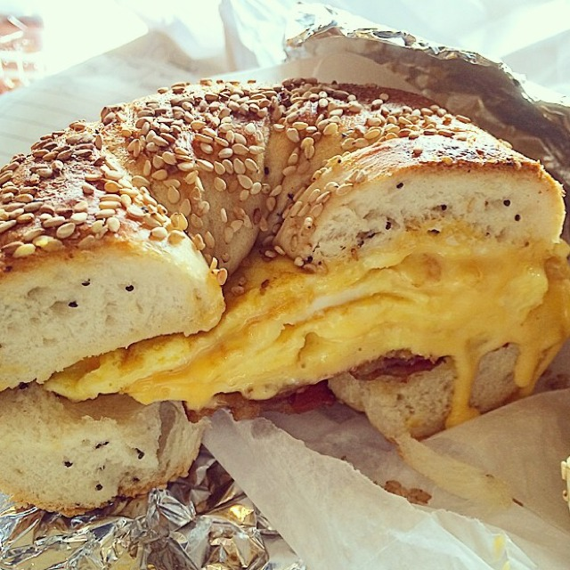 Sesame Bagel, Bacon, Egg, Cheese at Tompkins Square Bagels on #foodmento http://foodmento.com/place/3457