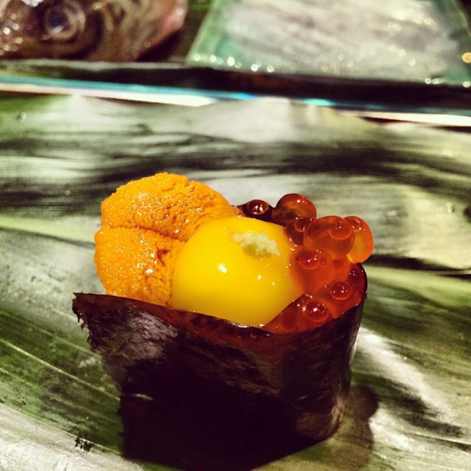 Sea Urchin (Uni), Roe (Ikura), Quail Egg at Sushi Dojo NYC on #foodmento http://foodmento.com/place/3488