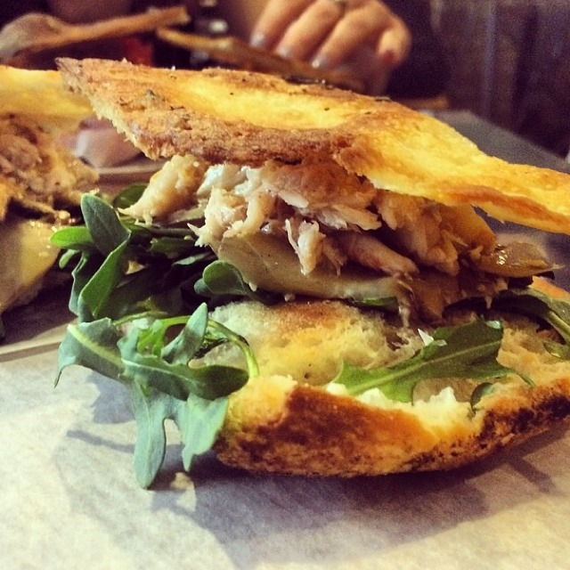 Crabmeat Panini, Artichoke, Arugula, Lemon at Gaia Italian Cafe on #foodmento http://foodmento.com/place/3654