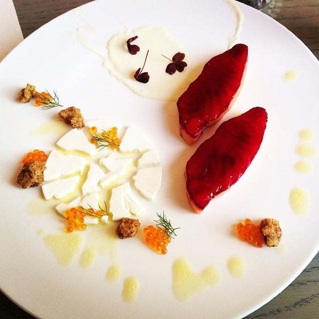 Roe, Atlantic Salmon, Lemon Yogurt Cotta, Spicy Crunch on #foodmento http://foodmento.com/dish/14761