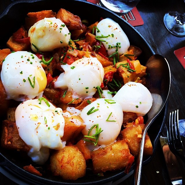Potato Hash, Poached Eggs (Brunch) at DBGB Kitchen and Bar on #foodmento http://foodmento.com/place/397