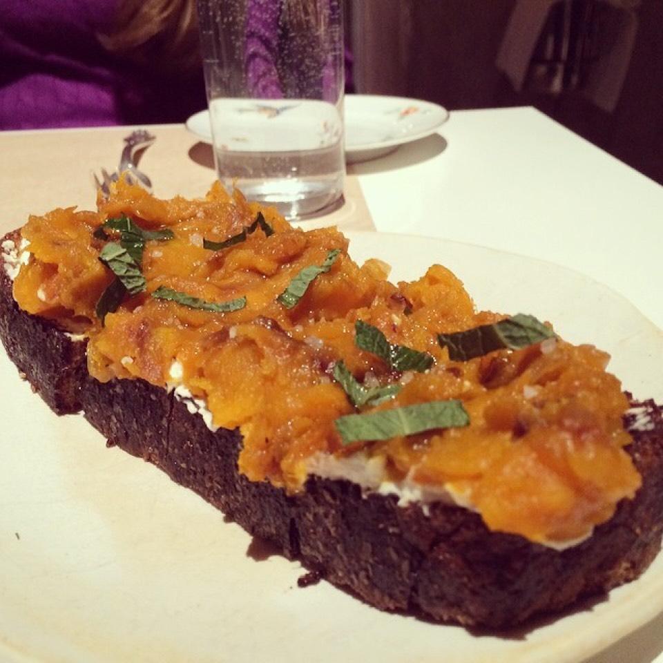 Roasted Kabocha Squash Toast, Fresh Ricotta, Apple Cider Vinegar at ABC Kitchen on #foodmento http://foodmento.com/place/811