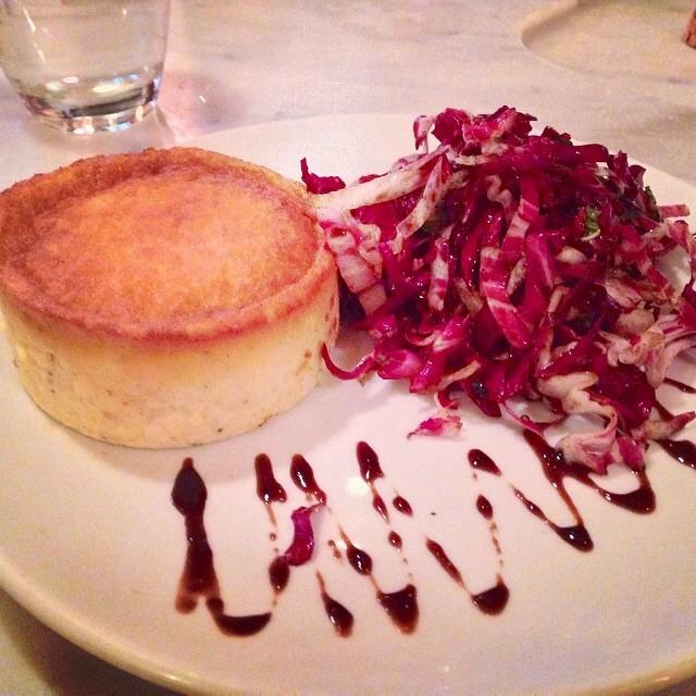 Sformato Di Parmigiano (Cheese Soufflé, Radicchio Salad) on #foodmento http://foodmento.com/dish/16901