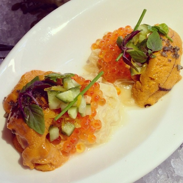Uni, Trout Roe, Red Shiso, Yuba, Grey Salt on #foodmento http://foodmento.com/dish/14435