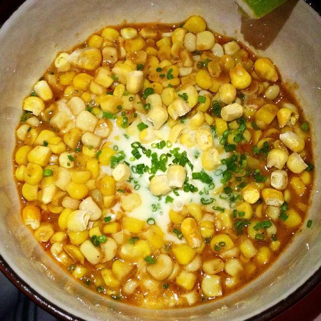 Corn, Kaffir Lime Curry, Creme Fraiche on #foodmento http://foodmento.com/dish/16369