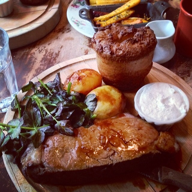 Sunday Roast (Sirloin Steak, Watercress Salad, Roasted Veggies, Popover) on #foodmento http://foodmento.com/dish/16910